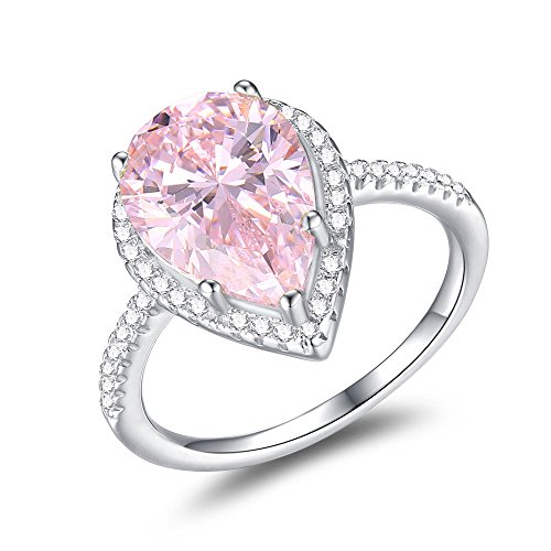 (Mozume Women's 925 Sterling Silver Pear-Cut 5ct Pink Cubic Zirconia Ring Cocktail Engagement Wedding (7.5))
