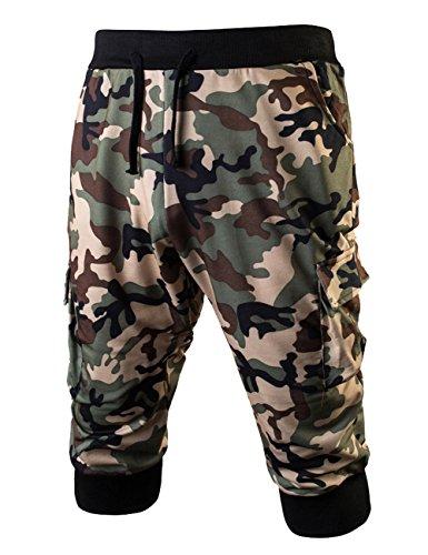 Cotton Twill 3/4 Pant - LETSQK Men's Camo Jogger Short Slim Fit Gym Workout Training Capri Trousers Green XL