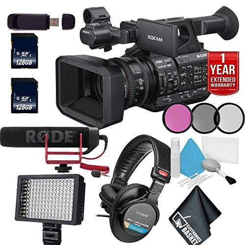 "Sony PXW-Z190 4K 3-CMOS 1/3"" Sensor XDCAM Camcorder with SD Card + LED Light + Microphone + Headphone Advanced Bundle"