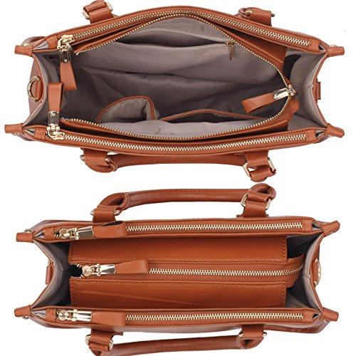 Xardi London 38,1cm nuovo grande da donna in pelle sintetica di ufficio a tracolla, borsa da donna Brown