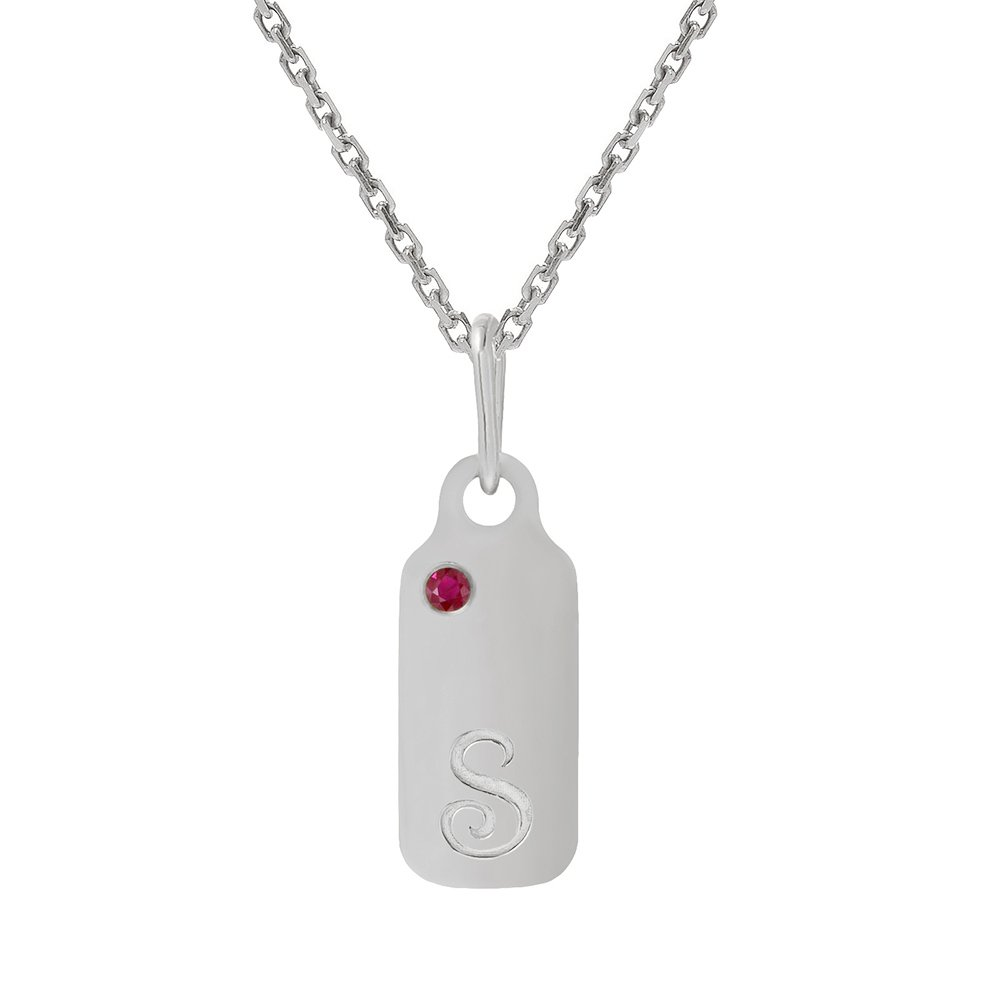14k Gold Garnet January Birthstone Cursive Letter S Dog-tag Necklace