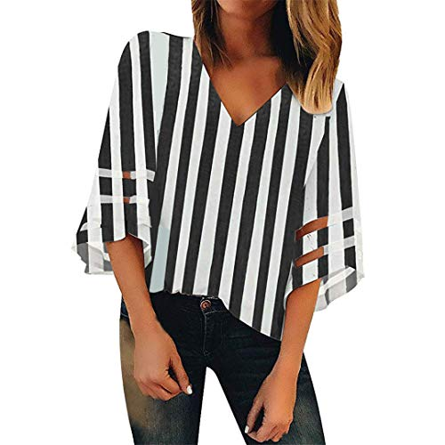 XVSSAA Women's Trumpet Sleeve V-Neck T-Shirt Top, Ladies Tulle Splicing 3/4 Sleeve Striped Printed Blouse - Skirt Inset Leggings Knit