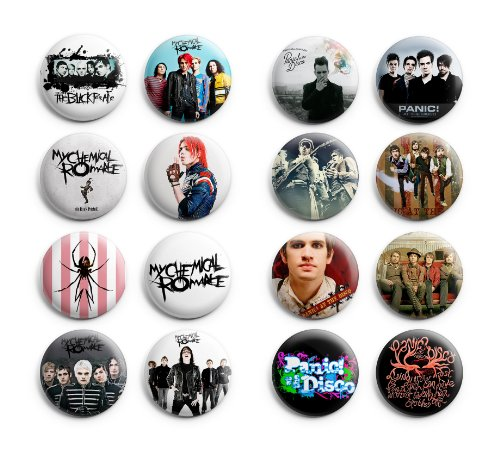 My Chemical Romance / Panic At The Disco Pinback Buttons 16Pcs 1.25 inch Best For Jacket,T-Shirts Mix Set