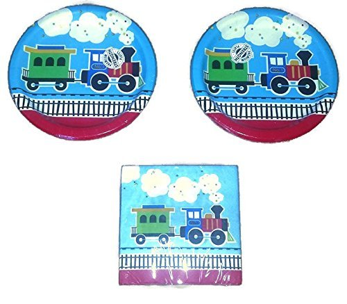 Creative Converting All Aboard Train Birthday Party Plates (16) Napkins (16) Party Bundle Train Party Plates