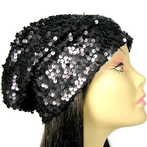 Amazon.com  Sequin Slouchy Hat Black Sequin Slouchy Beanie Glam Hats for  Hair Loss Chemo Caps Womens Slouchy Beanies Lined Sequin Beanies  Handmade 64b8ed42c8d