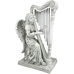 Design Toscano Music from Heaven Angel Playing Harp Garden Windchimes Statue, Large 29 Inch, Polyresin, Two Tone Stone
