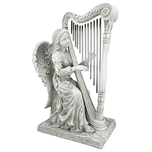 Design Toscano NG29970 Music from Heaven Angel Playing Harp Garden Windchimes Statue, Medium, Two Tone Stone