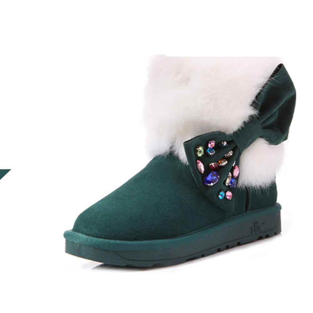 5bffcc9bef65 Leather snow boots winter luxury  Hua Shui diamond bowknot short boots   rabbit warm low tube boots Women¡¯s shoes-B Foot length 24.3CM(9.6Inch)  ...