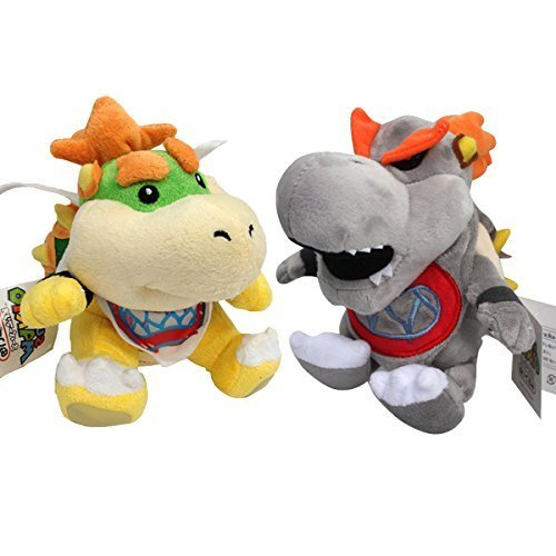 One Set of 2 PCS Baby Bowser Jr Baby Dry Bowser Bones Koopa Super Mario Bros Plush Toy Stuffed Animal Grey with a Free Badge As Gift ()