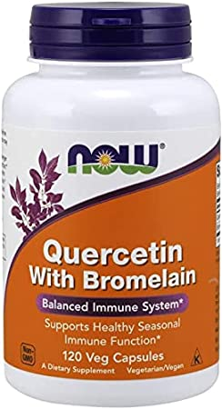 NOW Supplements Quercetin with Bromelain Balanced Immune System, Pineapple, 120 Veg Capsules (3070)