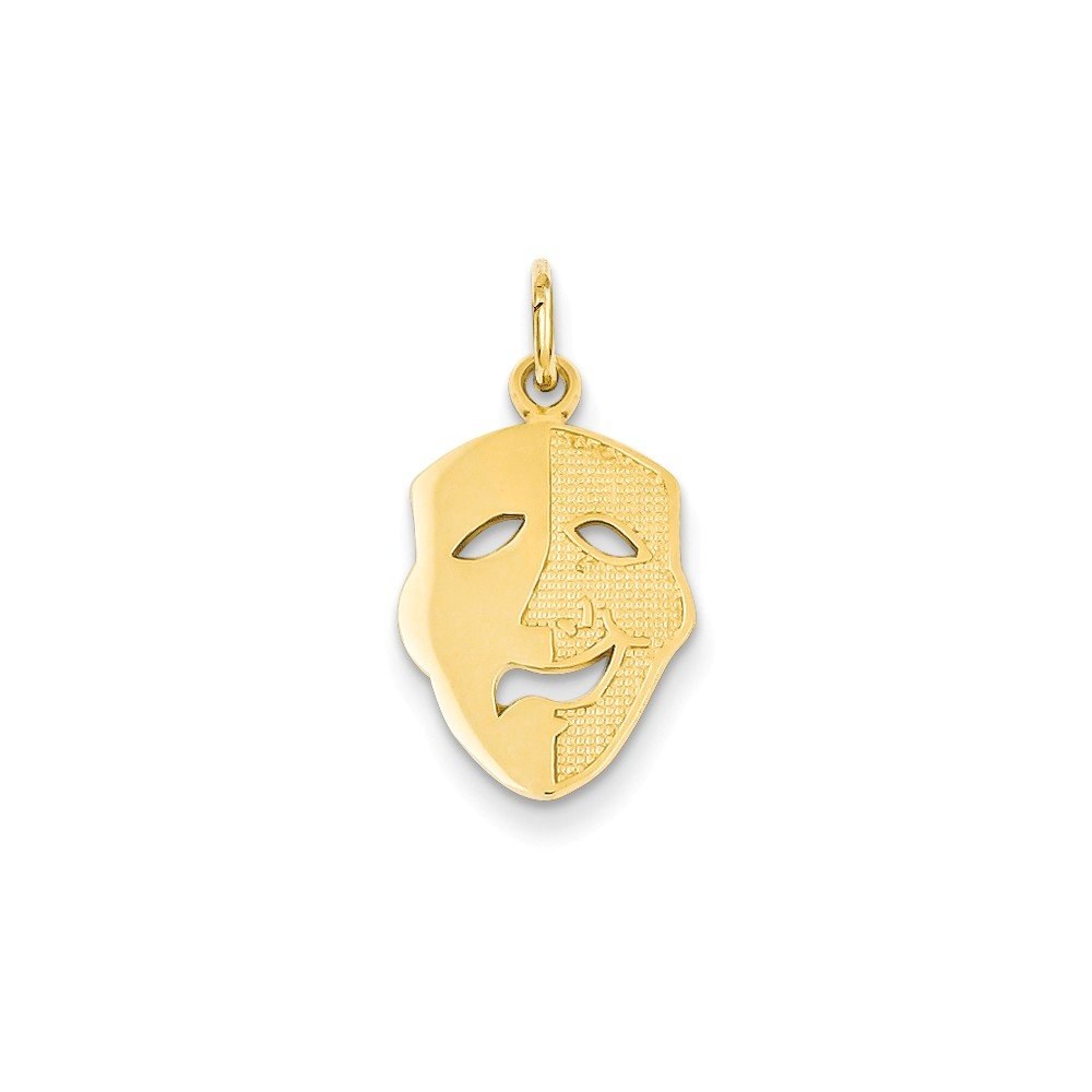 Mireval 14k Yellow Gold Comedy Mask Charm (11 x 21 mm)