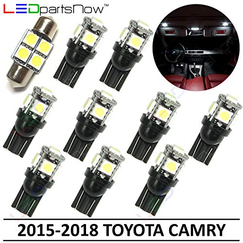 (LEDpartsNow Interior LED Lights Replacement for 2015-2018 Toyota Camry Accessories Package Kit (10 Bulbs), WHITE)