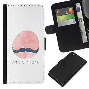 KLONGSHOP // Tirón de la caja Cartera de cuero con ranuras para tarjetas - Sonrisa Más bigote Pintura Cita - Sony Xperia Z3 D6603 //