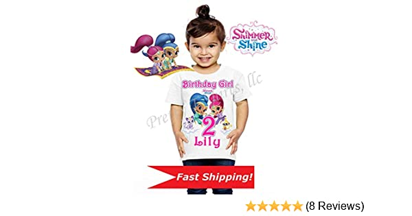 Personalised Childrens Girls Shimmer And Shine Birthday T-Shirt White