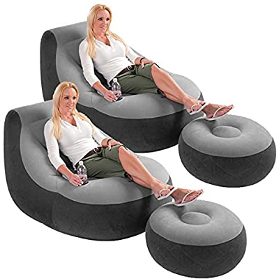 2 Pack Intex Ultra Lounge Inflatable Chair w/ Ottoman Sofa Dorm Gaming Chair