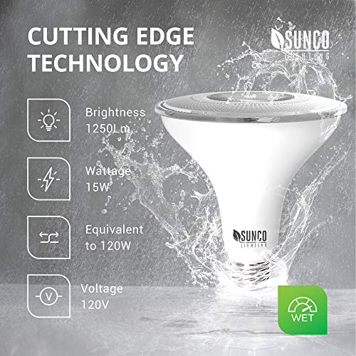 Sunco Lighting 2 Pack PAR38 LED Bulb with Dusk-to-Dawn Photocell Sensor, 15W=120W, 4000K Cool White, 1250 LM, Auto On/Off, Security Flood Light Indoor/Outdoor - UL