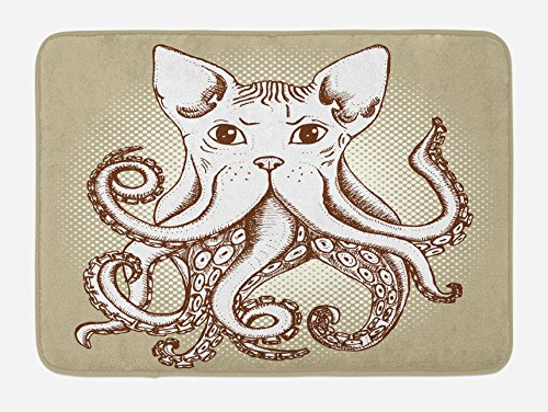 Ambesonne Octopus Bath Mat, Octopus with Cat Head Illustration Vintage Style Cartoon Cat with Tentacles Print, Plush Bathroom Decor Mat with Non Slip Backing, 29.5