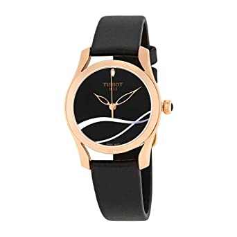 85248076a22a Amazon.com  Tissot T-Wave Rose Gold Tone Womens Black Leather Watch ...