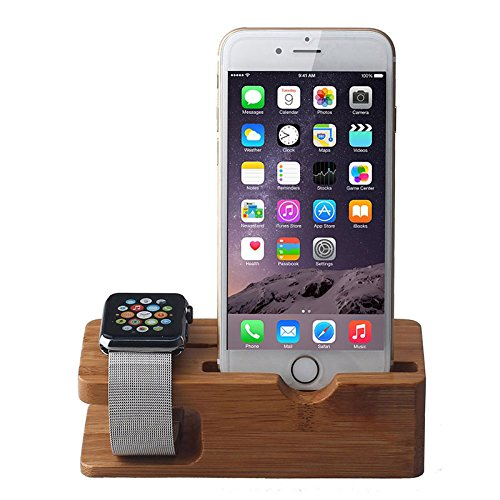 Apple Watch Stand, Mkeke@ Iwatch Bamboo Wood Charging Stand Bracket Docking Station Stock Cradle Holder for Both 38mm and 42mm (Std004 Bamboo)