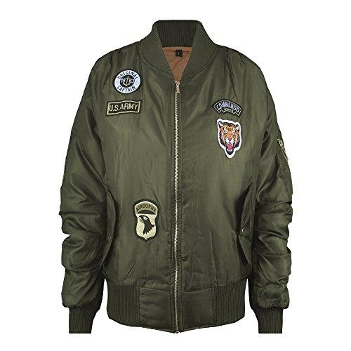 vintage da Bomber stile con imbottito Khaki zip 58 With alla tagli Badges dalla donna 38 rIqdHqR