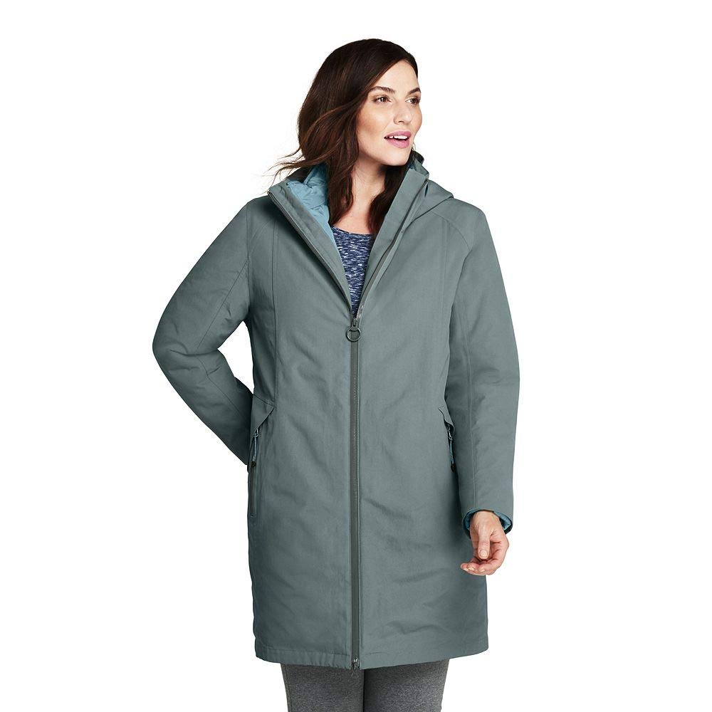 5918431764 Amazon.com  Lands  End Women s Plus Size 3 in 1 Long Squall Coat  Clothing