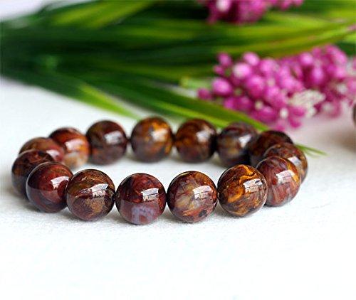 1hilos Natural marrón oro Pietersite Stretch Hombres Ronda de pulsera de perlas de grandes 14mm 04110