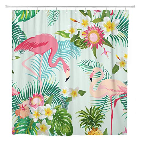 ArtSocket Shower Curtain Pattern Tropical Flowers and Birds Vintage Flamingo Party Exotic Home Bathroom Decor Polyester Fabric Waterproof 72 x 72 Inches Set with Hooks (Tropical Curtain Shower Vintage)