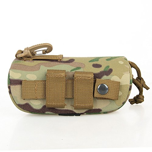 E.T Dragon Molle Sunglass Case, Eyeglasses Hard Case Carrying Case 1000D Nylon with Clip(CP Multicam Camo)