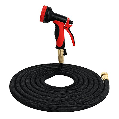 FLORA GUARD 50 feet Garden Hose Pipe-Expandable Magic Hose Stretch Hosepipe with 10 Function Spray Gun (Black)