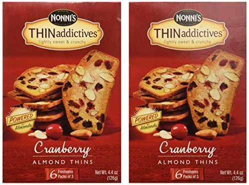 Nonni's Thin Addictives: Cranberry Almond Thins (Pack of 3) 4.4 oz Boxes by Nonni's