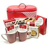 Easter Gift Basket for Her or Him | Fresh Baked Deluxe (Red) | Metal Tin Coffee, Tea, Cookies, Pastries