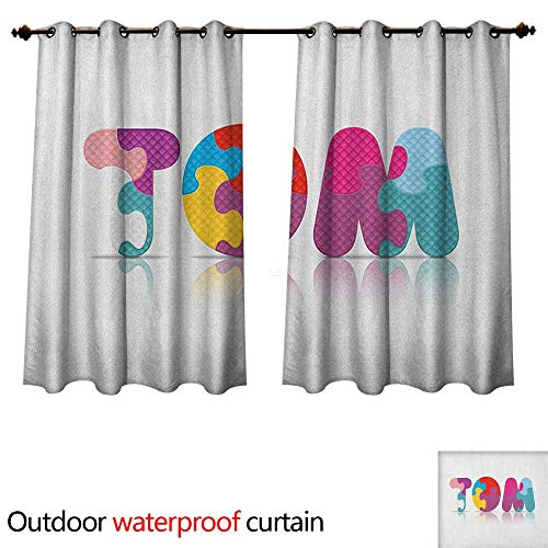 - Tom Outdoor Balcony Privacy Curtain Children Newborn Themed Colorful Boy Name Design Abstract Educational Puzzle Pattern W108 x L72(274cm x 183cm)