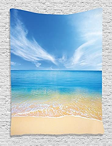 Ambesonne Ocean Decor Collection, Sand Beach in Summer at a Hot Island with Clean Sky and Sea Picture, Bedroom Living Kids Girls Boys Room Dorm Accessories Wall Hanging Tapestry, Beige Blue (Hot Pictures For Bedroom)