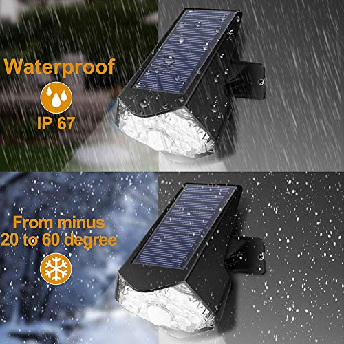 Solar Lights Outdoor 10- LED Optical Lens,PIR Solar Motion Sensor Security Lights,Solar Wall Light IP67 Waterproof Adjustable Angle,Wireless Easy-to-Install for Front Yard,Garden,Patio (2 Packs)
