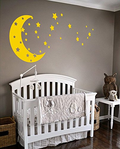 Moon and Stars Night Sky Vinyl Wall Art Decal Sticker Design for Nursery Room DIY Mural Decoration (Light Yellow, 30x65 (Yellow Decals)