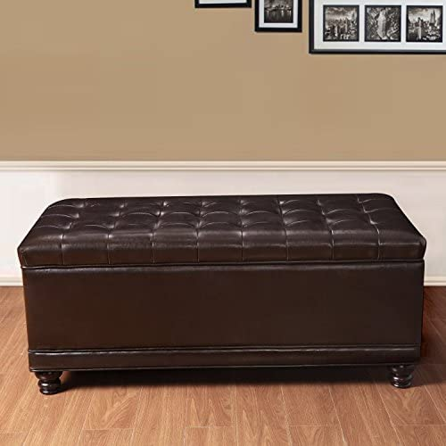Adeco Bonded Leather Rectangular Tufted Storage Ottoman Footstool