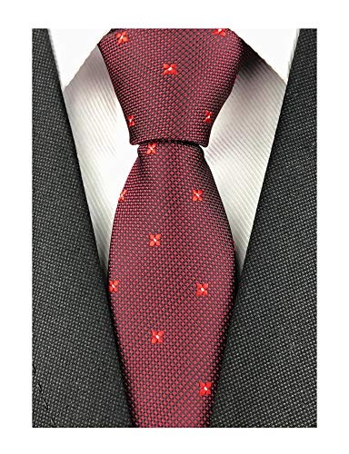 Mens Maroon Tie Narrow Deep Red Tie Adult Evening Sunny Self Modern Necktie Dad Gift