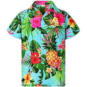 King Kameha Funky Chemise Hawaïenne | Hommes | XS – 6XL | Manche-Courte | Poche-Avant | Hawaiian-Imprimer | Ananas