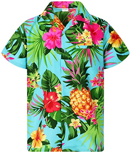 Funky Hawaiian Shirt, Shortsleeve, Pineapple, Turquoise, XS