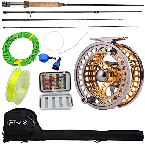 Sougayilang Fly Fishing Rod Reel Combos with Lightweight Portable Fly Rod and CNC-machined Aluminum Alloy Fly Reel,Fly Fishing Complete Starter Package (Fishing Kit Fly)