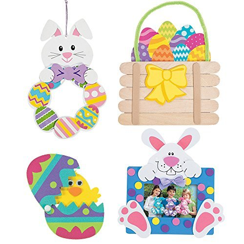 Easter Craft Kits | Hatching Chick Magnet Egg, Easter Basket Craft Stick Sign, Easter Bunny Wreath & Easter Bunny Picture Frame | For Kids DIY Classroom Daycare Homeschool Art Decor -
