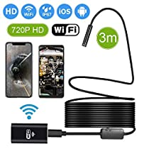 Waterproof Flexible Wireless Endoscope WiFi Borescope Inspection Camera 2.0 Megapixels for Android and iOS Smartphone, iPhone, Samsung, iPad