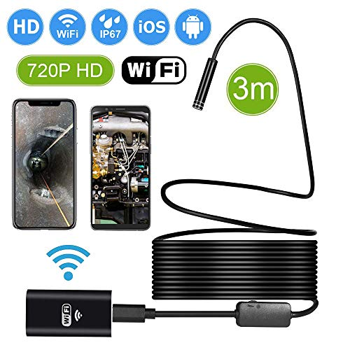 TAOPE Waterproof Flexible Wireless Endoscope WiFi Borescope Inspection Camera 2.0 Megapixels for Android and iOS Smartphone, iPhone, Samsung, iPad (3M)