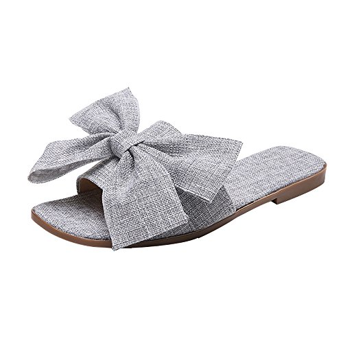 QBQCBB Women Fashion Cloth Bow Flat Heel Square Toe Sandals Slipper Beach Shoes Gray(Gray,36) (Beige Post Gray 36')