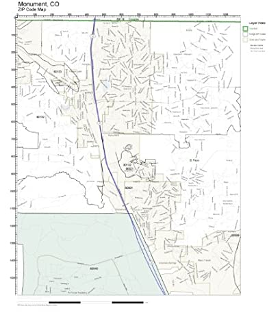 Amazon.com: ZIP Code Wall Map of Monument, CO ZIP Code Map Laminated ...