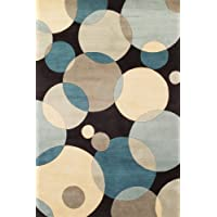 Momeni Rugs NEWWANW-37TEL7696 New Wave Collection, 100% Wool Hand Carved & Tufted Contemporary Area Rug, 76 x 96, Teal Blue