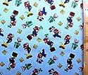 キャラクター生地・USAコットン・スーパーマリオ(ブルー)#18(キャラクター 生地 布 キャラクター生地 ピロル)の商品画像