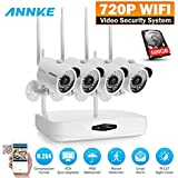 ANNKE HD 960p NVR Wireless Security Camera System with 500GB HDD and (4) 1.0 Megapixel Wifi Outdoor IP Cameras with 36 IR Leds, 100ft Night Vision, Motion Detetion and Remote Access