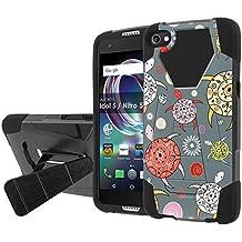 [Nakedshield] Phone Case For [Cricket Exclusive] Alcatel Idol 5 [Black/Black] Shock Proof Armor Case [KickStand] - [Pattern Sea Turtle] Print Design