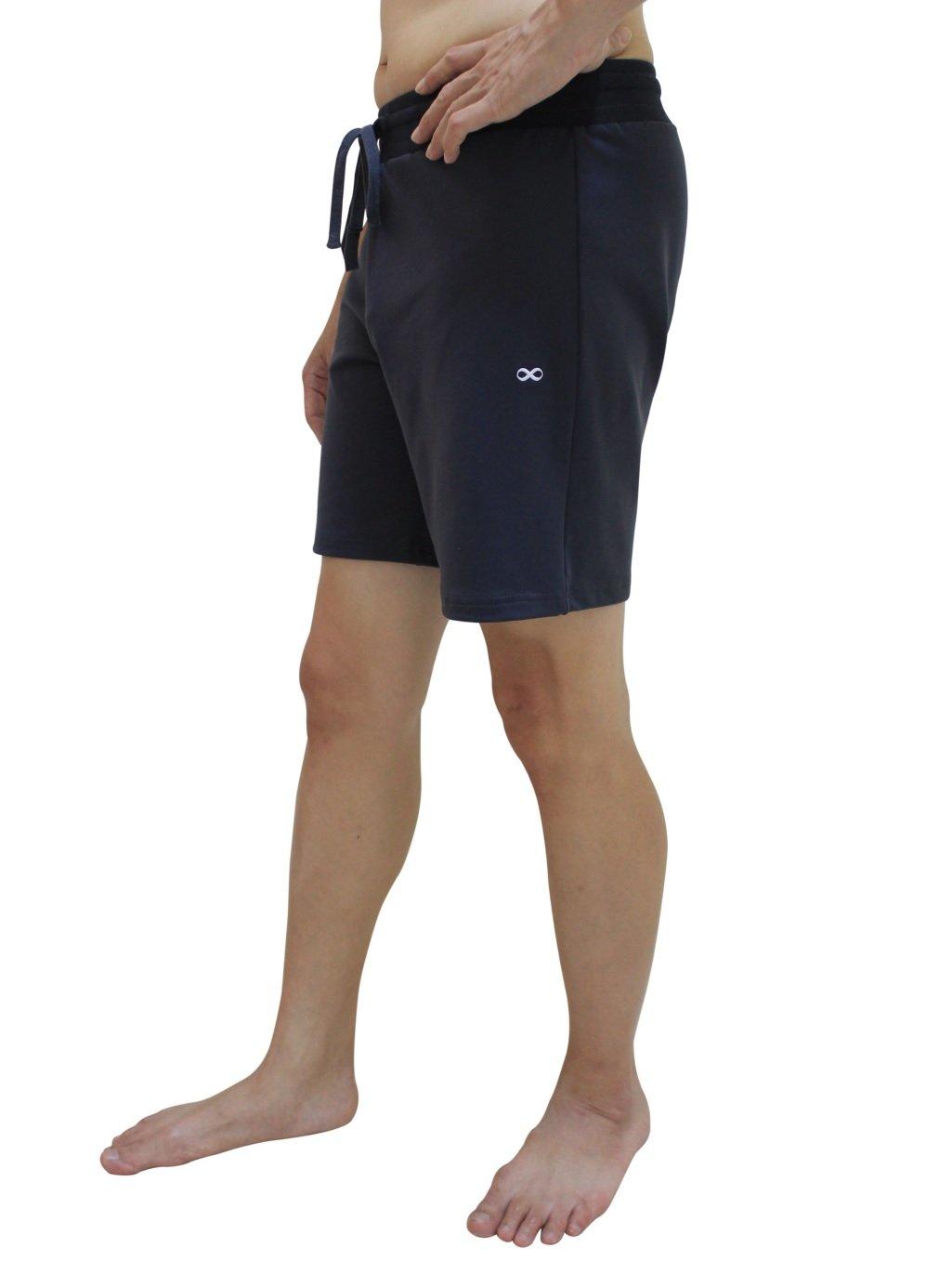 YogaAddict Yoga Shorts for Men, Quick Dry, No Pockets, for Any Yoga (Bikram, Hot Yoga, Hatha, Ashtanga), Pilates, Gym, Grey with Inner Liner - Size M by YogaAddict
